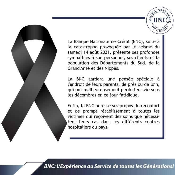 Mots  de sympathies de la BNC à l