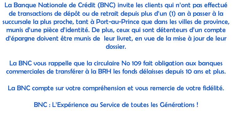 Banque Nationale De Credit Atm Bnc